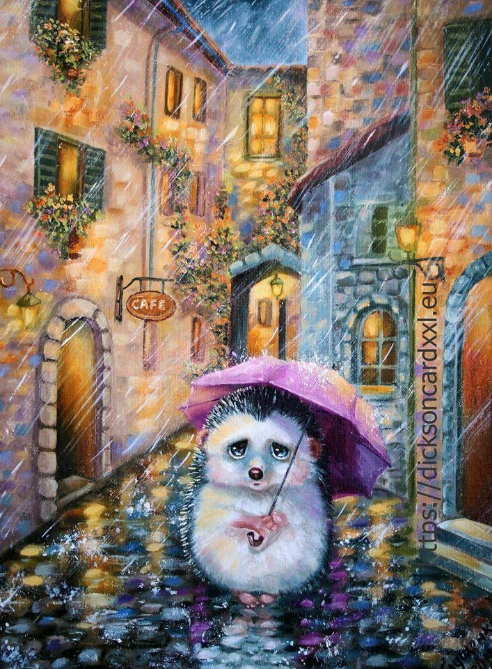 Hedgehog alone in the rain 🦔 ( @irinika_art )
