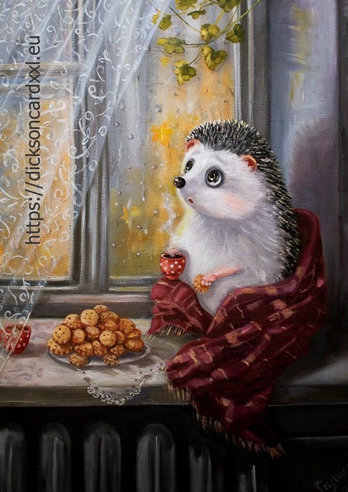 Autumn. Hedgehog on the window  🦔 @irinika_art