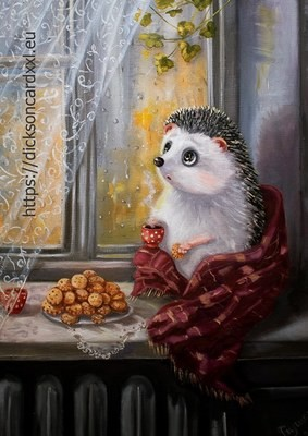Autumn. Hedgehog on the window​  🦔 @irinika_art