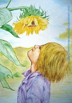 Boy with sunflower