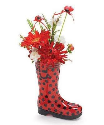 NEW. Flowers in red boots