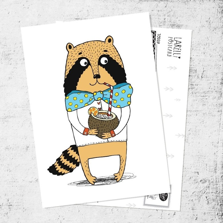"Postcard ""Raccoon and colada"""
