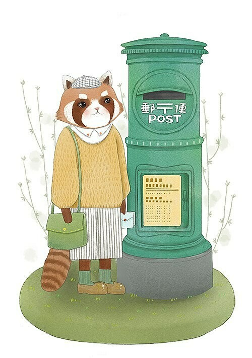 Raccoon  sends a letter 📬. Енот отправляет письмо