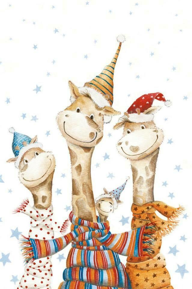 Жирафы в новогодних шарфиках