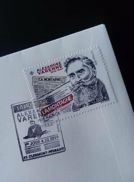 First day cover. Du timbre Alexandre Varenne à l'occasion du centenaire du journal La Montagne avec dédicaces des artistes