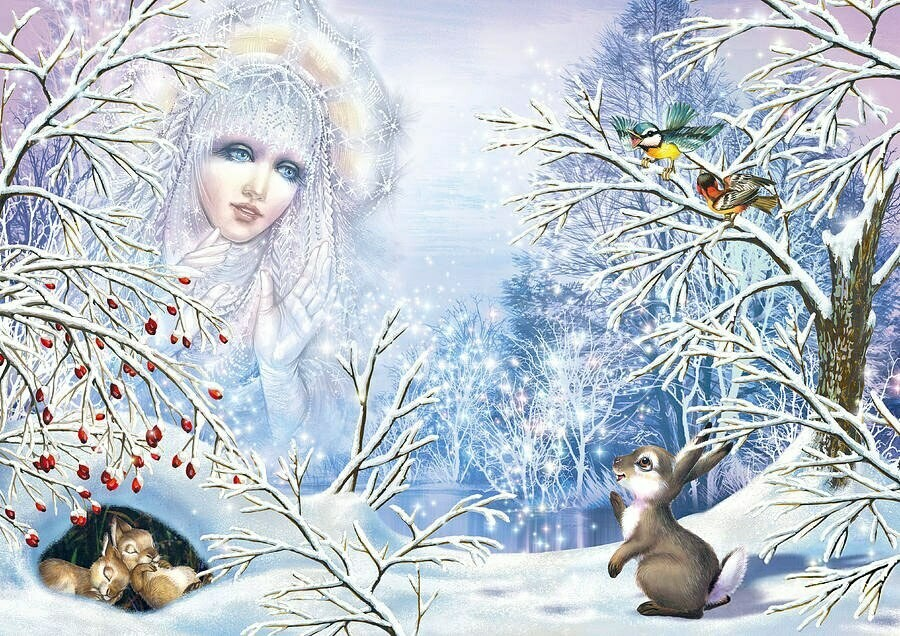 NEW. Snow queen and rabbit
