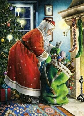 NEW. Santa Claus with a green bag