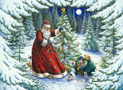 NEW. Santa Claus in a snowy forest near the Christmas tree