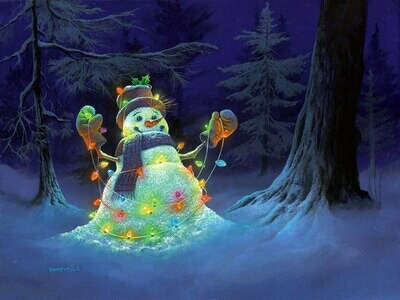 NEW. Snowman with garland