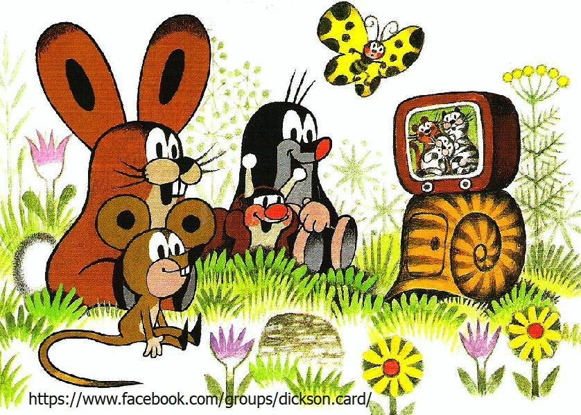 Mole and friends at the TV.