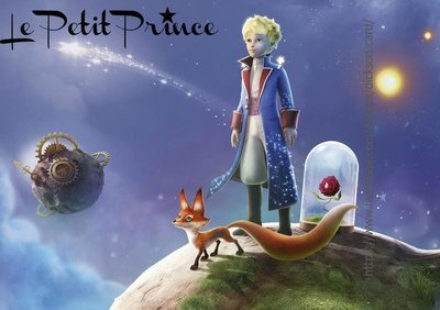 Little Prince with the fox on the planet.