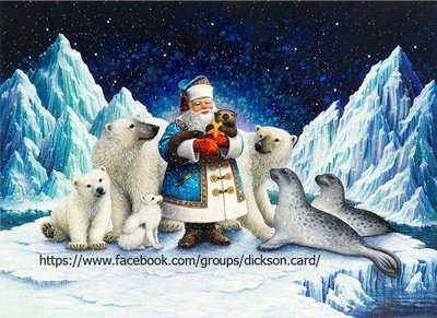 Santa Claus and the animals on the ice from © Lynn Bywaters