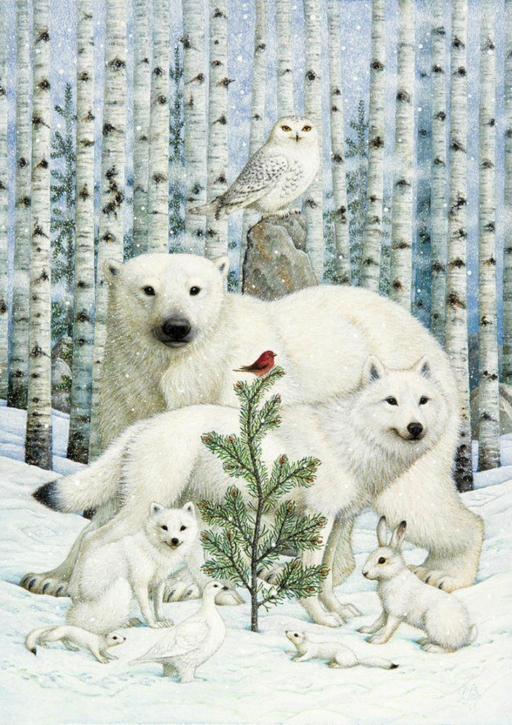 Snow-white beasts in the winter forest ©​ Lynn Bywaters