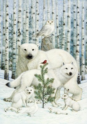Snow-white beasts in the winter forest © Lynn Bywaters
