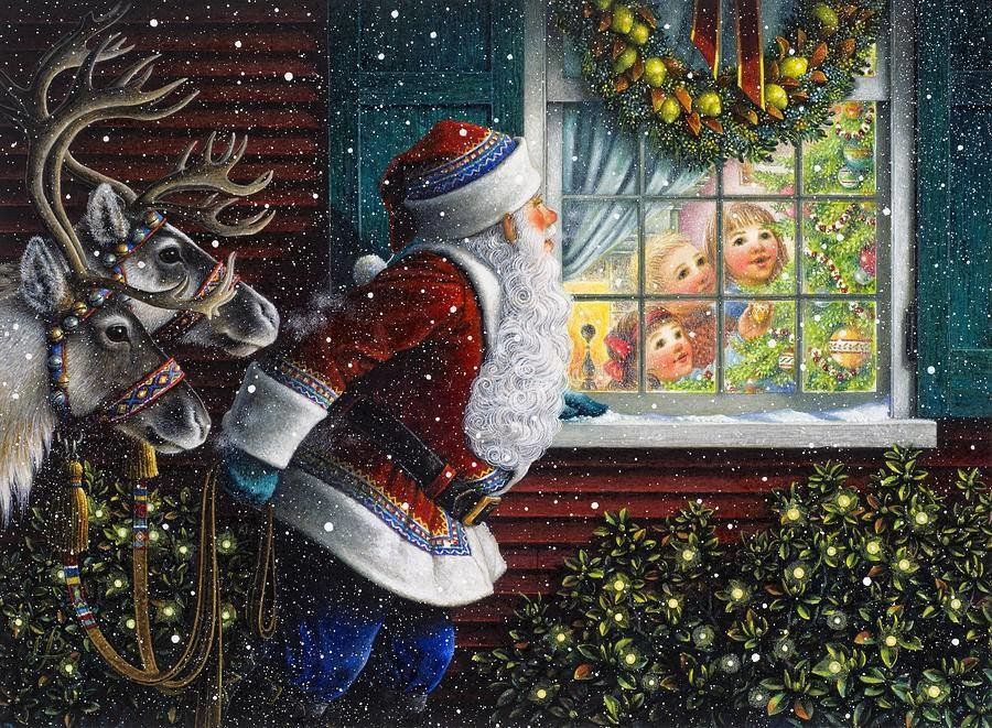 Santa Claus looks in the window from © Lynn Bywaters