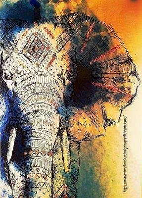 Elephant with hieroglyphs.
