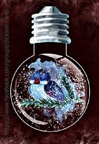 Snowy tit in a light bulb.