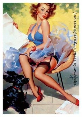 Pin-up - a model in a blue dress