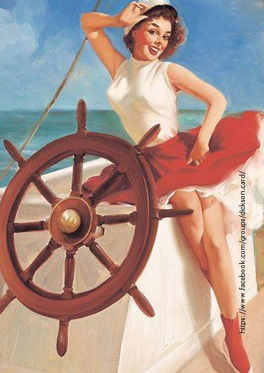 Pin-up - on a yacht