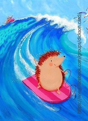 Hedgehog on surfing