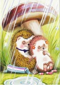 Hedgehogs under the mushroom