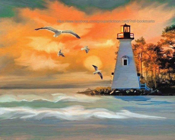 Lighthouse drawn in yellow - orange color