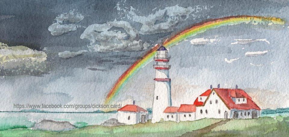 Lighthouse with a rainbow