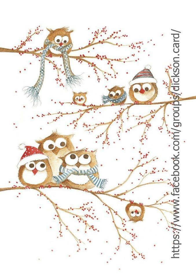 Christmas owls on the branches