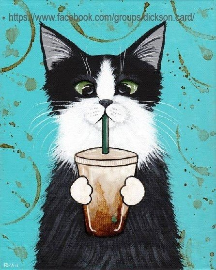 The cat is drinking from the straw