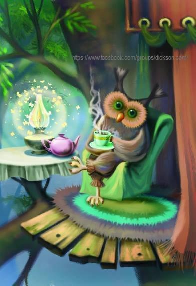 """""""Evening tea"""" with an owl T.Davidova"""