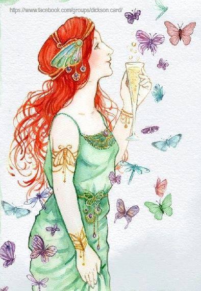 Vintage Lady Butterflies green