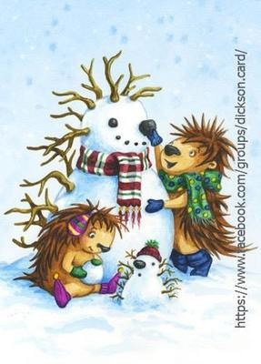 Hedgehog with snowman