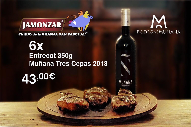 Lote Jamonzar 6x Entrecots Muñana Tres Cepas 2013