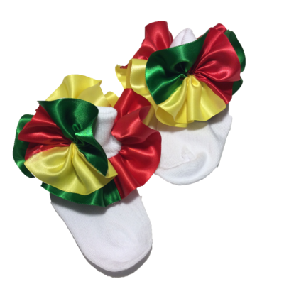 Red Green Yellow Ruffle Socks