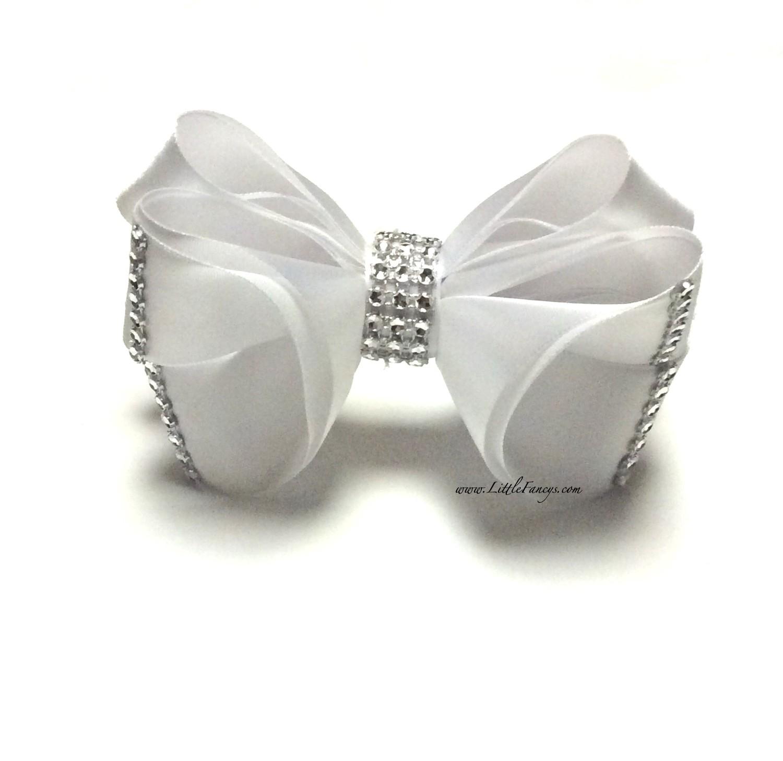 All White Hair Bow with Rhinestone - The Princess
