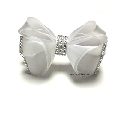 All White Hair Bow with Rhinestone - The Princess