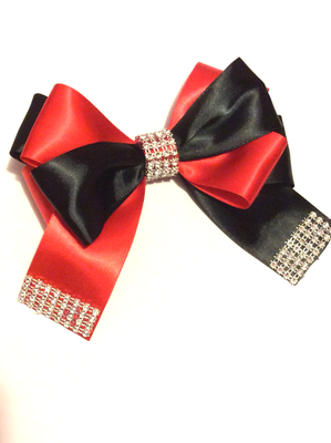 Black - Red Rhinestone Hair Bow