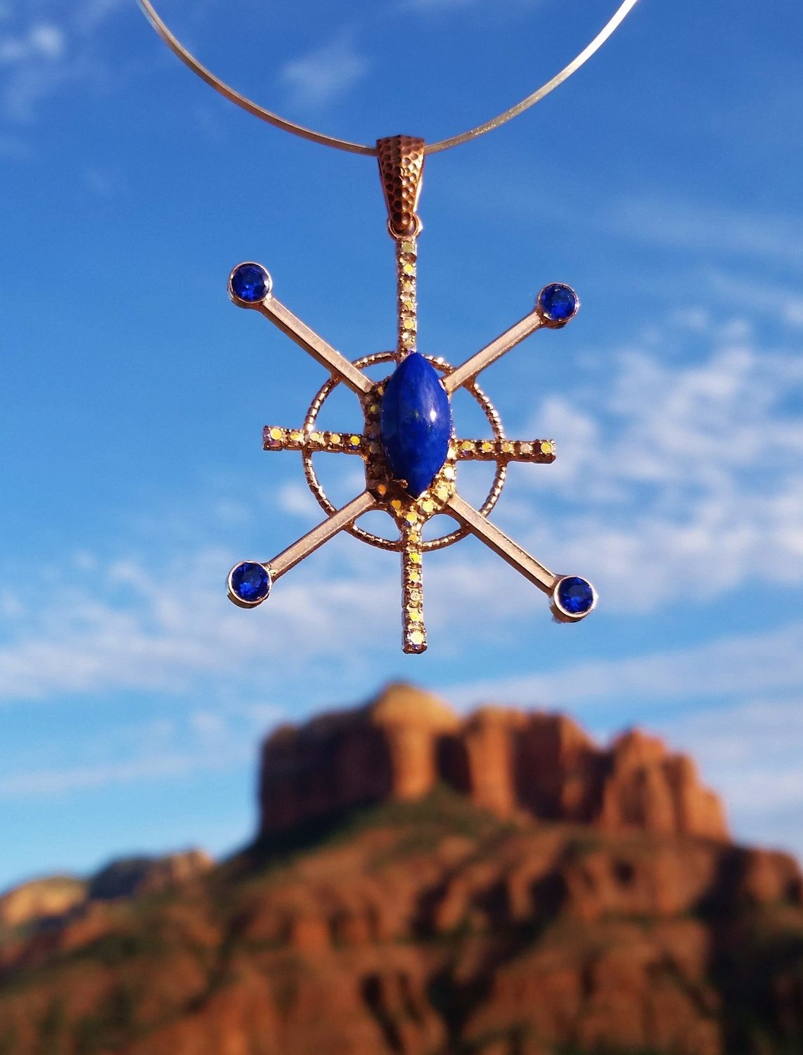 Blue Lapis Star Resonator Red Rock Sedona Copper brass