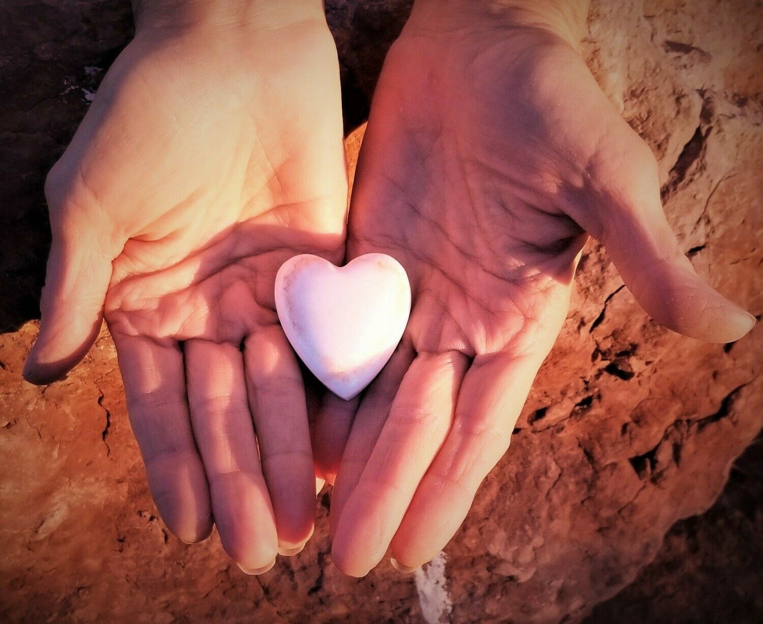 Sedona Holding Healing Heart White Light Crystal LOVE/ Red Rock imprint of Mother Earth's Heart