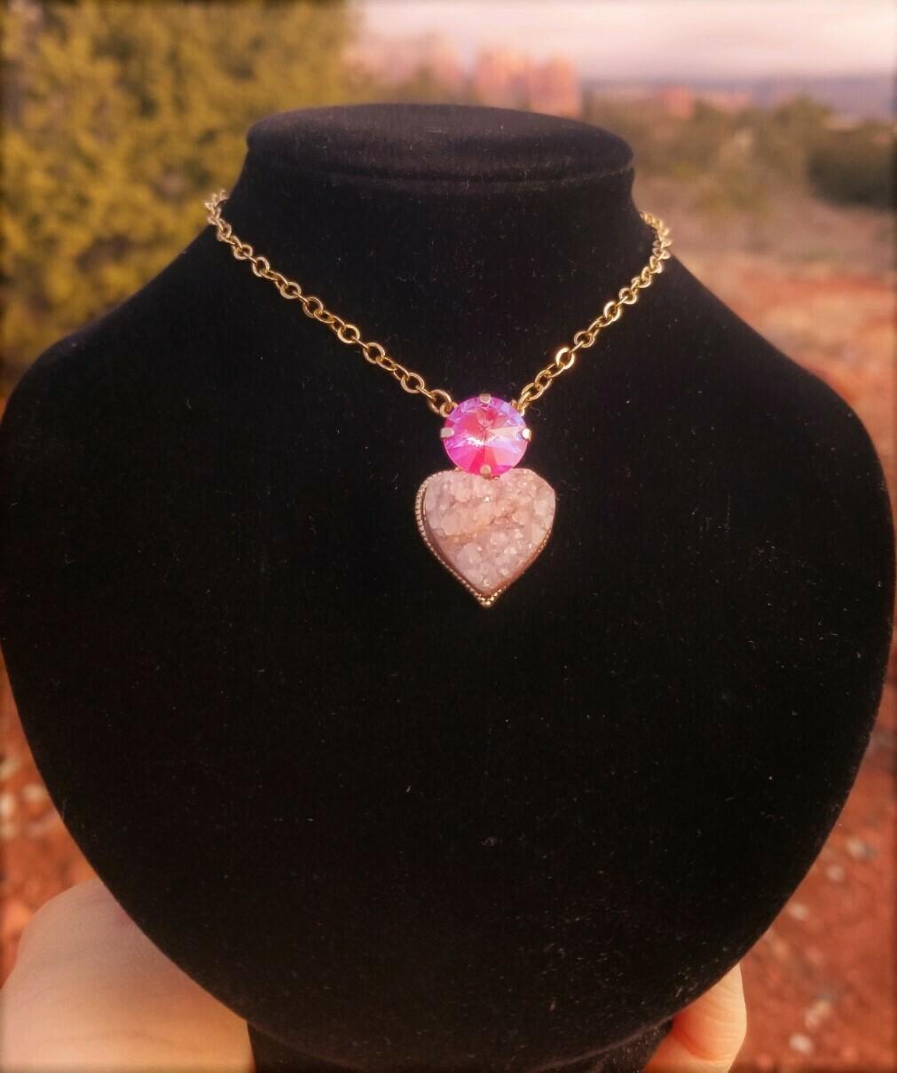 Gold Sedona Sacred Heart Sedona Star Family Druzy crystal of Mother Earth Gaia/$244.00/$333.00 Lightworkers Sale