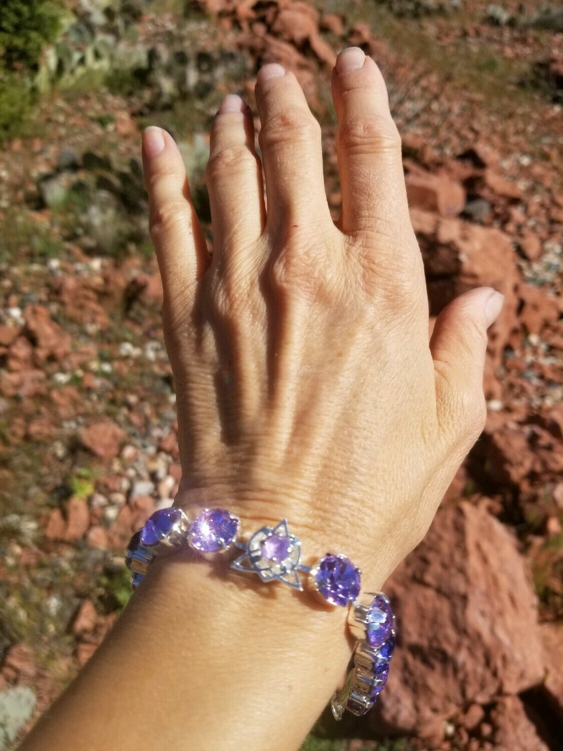 Stunning Violet Flame Star of Lady Portia/ Devic Crystal LOVE Technology Bracelet/$144.00/188.00/Mother Day Retreat Sale
