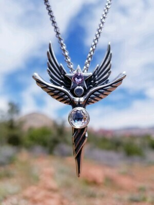 Sedona Angel Pink Star Sterling Silver Star Guide & Protection/Angel retreat sale$199/$244.00