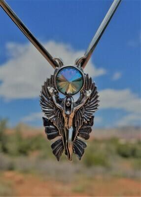 WA HE AH Sterling Silver/Goddess Fairy Angel Deva/Retreat Fairy sale Cosmic Crystal $233/$313