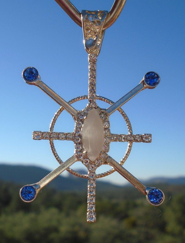 Sapphire Blue Ray Star Resonator with Sedona Moonstone White Light Center