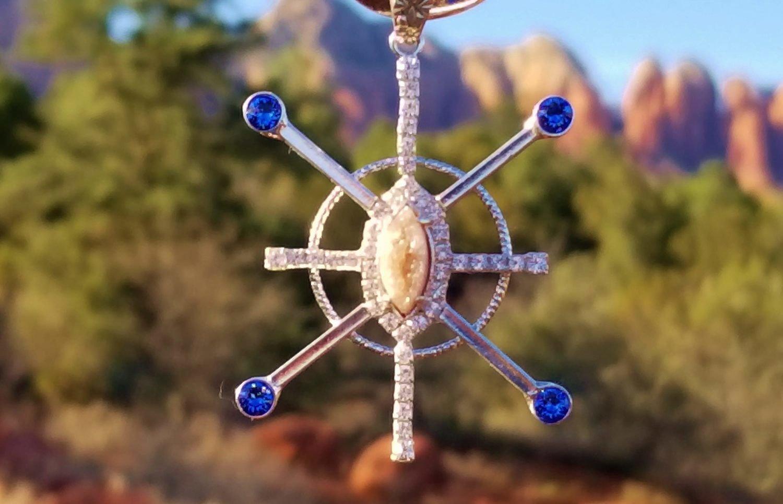 $333 BlueRay Sapphire Star Resonator with Sedona  Star family druzy crystal center