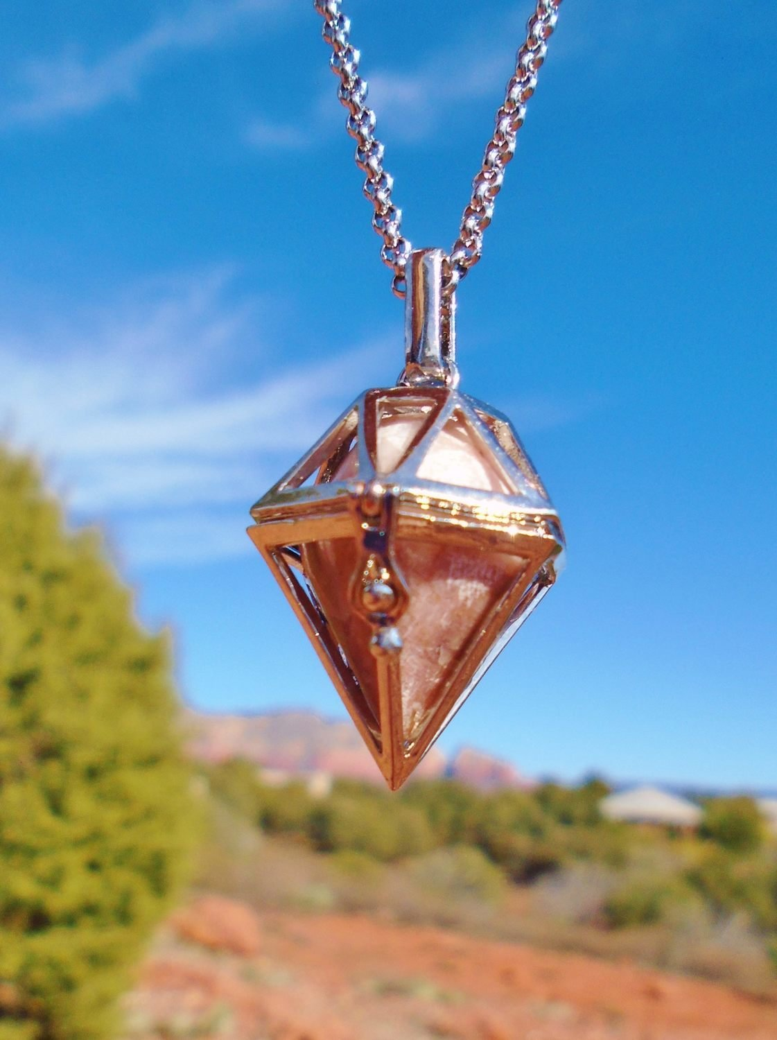 Sale $199/233.00 Power of the Vortex Ascension Protection White light Crystal with Red Rock