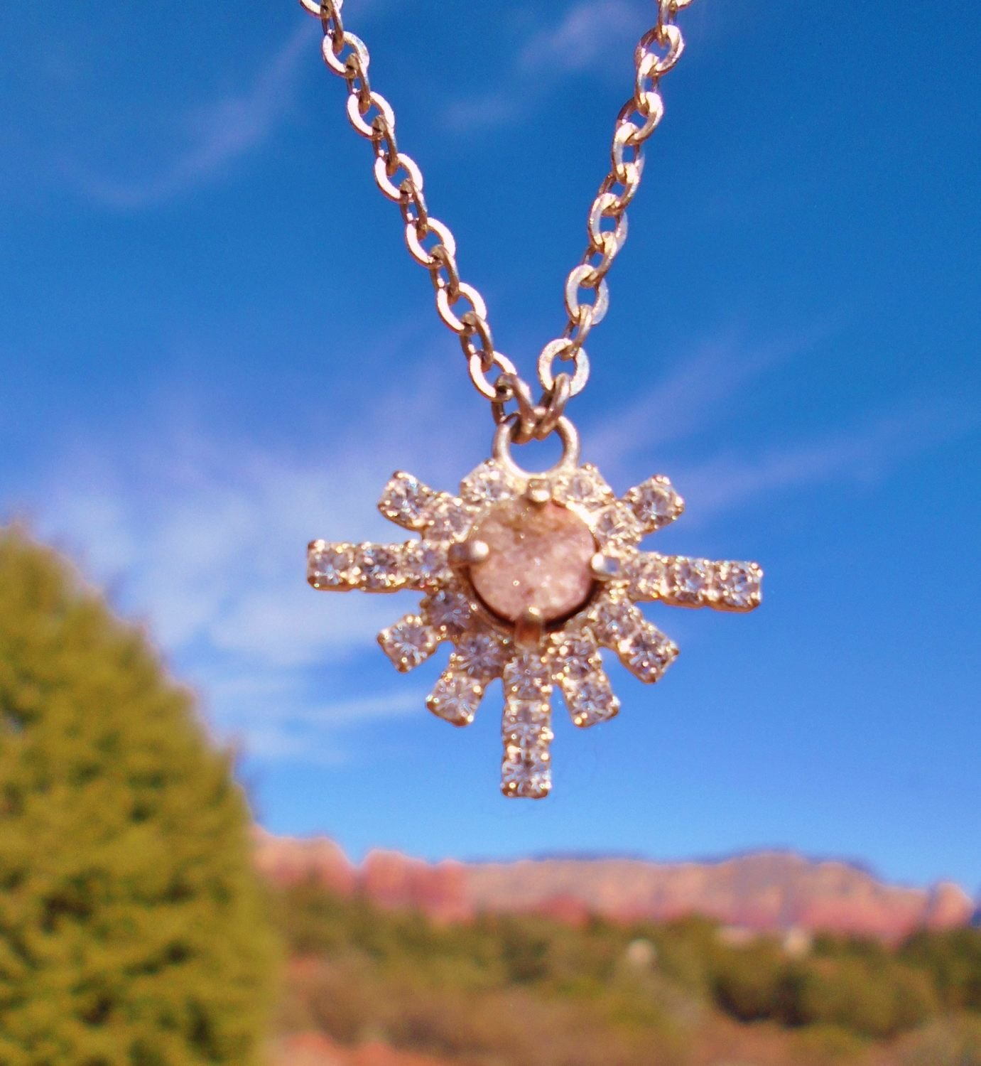 Sale $199/$244.00 Sedona Higher Self star family druzy smaller pendant with brass chain