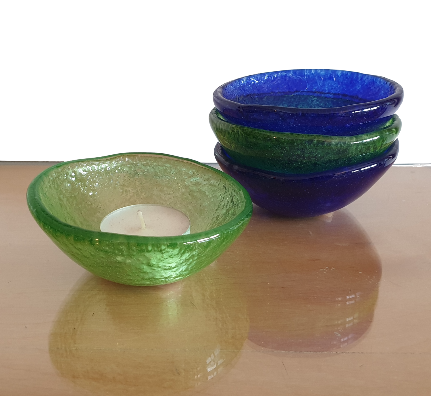 Green Fused Glass Bowl