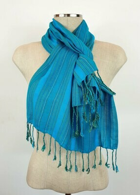 Turquoise & Teal Stripes Small Scarf