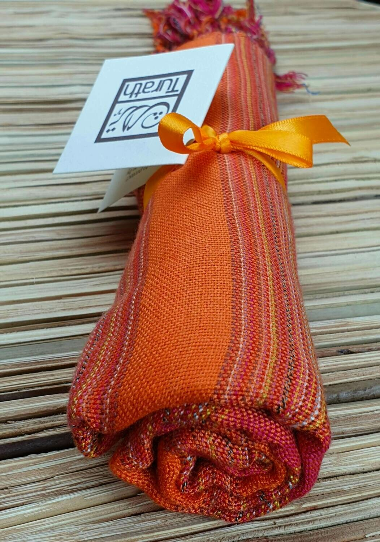 Fuchsia & Orange Wide Stripes Small Scarf